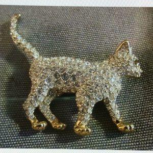 Authentic Swarovski Cat Brooch Pin